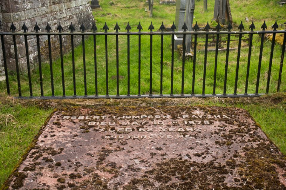 The grave of Robert Thompson Crawshay in the graveyard at Vaynor